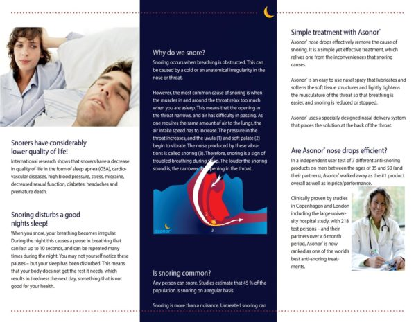 asonor snore stop solution - pamphlet back