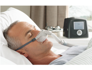A mask is applied to the mouth and nose for sleep apnea